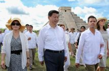 Chinese President Xi Jinping (2nd L) his wife lady Peng Liyuan (L) and Mexico's President Enrique Pena Nieto (2nd R) and his wife Angelica Rivera (R) visit the archaeological site of Chichen itza, State of Yucatan, on June 6, 2013. Chinese President Xi Jinping on Tuesday kicked off a three-day visit to Mexico, which is seeking to narrow a huge trade gap with Beijing and attract investment from the world's number two economy. AFP PHOTO/Elizabeth Ruiz        (Photo credit should read ELIZABETH RUIZ/AFP/Getty Images)