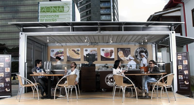 Contenedores que se transforman en restaurantes iq latino for Contenedores de oficina
